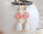 Coral Pink Teardrop and White Stone Dangle Jewel Earrings. Coral Bridesmaid Earrings. Coral White Earrings. Christmas Gift. Holiday Jewelry.