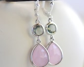 Soft Pink Teardrop and Charcoal Grey Jewel Drop Earrings in Silver.  Pink Gray Bridesmaid Dangle Earrings. Jewelry Gift Her.  Gift.