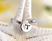 Personalized Inital Pinky Ring in Silver with CZ stone. Gift. Personalized Ring. Adjustable Ring. Inital Ring. Personalized Gift.