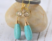 Turquoise Jewelry. Turquoise Stone Statement Earrings in Gold.  Long Dangle Earrings. Drop. Bridesmaids Earrings. Turquoise Jewelry.