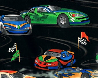 RACE CAR Fabric - Track - Nascar Checkered FLAG - Hot Rod Large