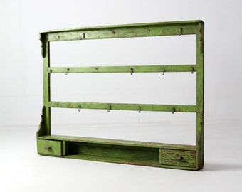 antique kitchen rack, wood wall shelf, painted wood shelves