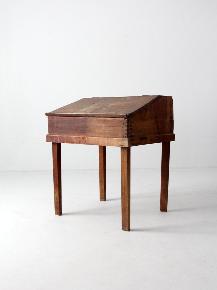 Antique slant top desk wood clerk or writing