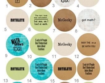 Math Club,  Mathlete, Math Geek Flair 1 inch Pinback Button, Flatback or Badge set of 10