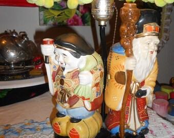 Chinoiserie vintage Satsuma moriage Hotei Buddhas sake decanters lamp and shade