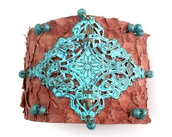 Brown Fish Leather with Patina Filigree Diamond Center Focal - Sea Green Glass Bead Accents - Patina Button Closure