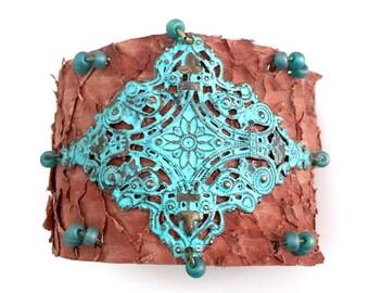 Brown Fish Skin Leather Cuff Bracelet - Patina Filigree Diamond Center Focal - Sea Green Glass Bead Accents - Patina Button Closure