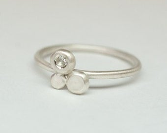 White sapphire and sterling silver little stacking ring