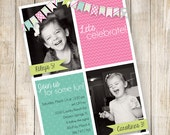 Twin Birthday Invitation, Sibling Invitation, Fifth Birthday Invitation, Girl Birthday Invitation, bunting invitation