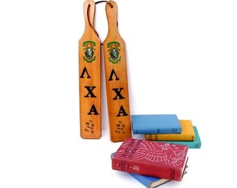 Vintage College Fraternity Wooden Hickory Paddles Athletic Collegiate Trophy Frat Paddle Set