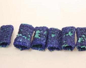 Fabric fiber bead Dreadlock bead navy blue ocean aqua teal fibre art bead scarf tassel embellishment embroidered jewelry supply drop spindle