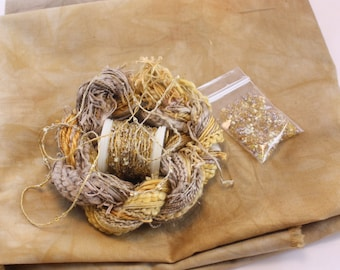 Pale Beige Gold Space Dyed Cotton Fat Quarter Fabric with Embroidery quilting thread sewing fabric beaded yarn fiber art embellishment