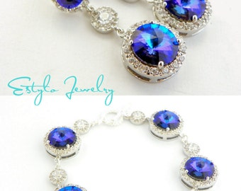 Peacock Wedding Jewelry Set, Purple Bridal Earring and Bracelet, Swarovski Bridal Jewelry Set, Maid Of Honor Gift, Violet Crystal Jewelry