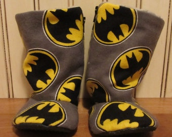 Batman baby boots- infant to toddler- non slip sole - flexible shoes