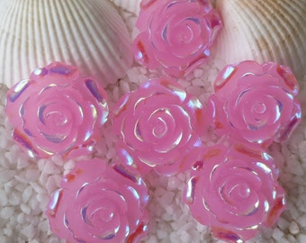 Resin Stunning AB Flower Cabochon - 20 mm - 12 pcs - Bright Translucent Pink