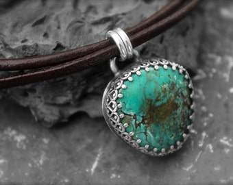 Turquoise Stone set in Embossed Sterling Silver