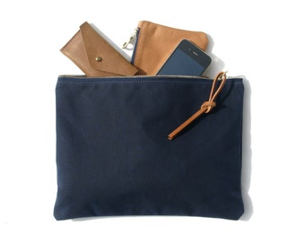 The Traveler's Clutch in NAVY  //  waxed canvas pouch purse bag wallet