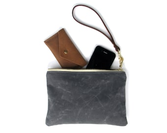 The Wristlet in STORM GRAY  //  waxed canvas pouch bag purse wallet