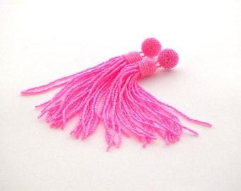 Hot pink beaded tassel earrings- tassle clip on earrings- statement seed beads earrings- long fringe bridesmaid earrings- graduation gifts