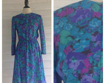 Vintage 1970s BLUE and Purple Floral Dress