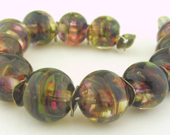 Clear based beads wrapped in Fall Harvest Colors encased in clear--Lampwork Beads Fall Collection (12) - LEteam