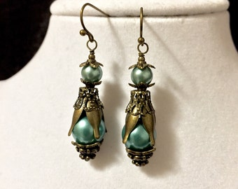 Blue and Bronze Layered Earrings