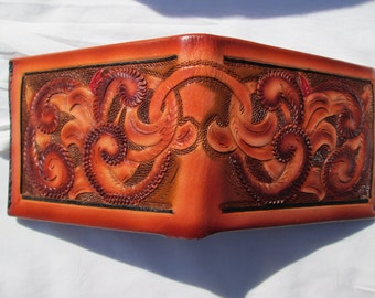 Leather wallet , billfold , custom leather  , Men , custom tan billfold , tooled scrolls wallet ,