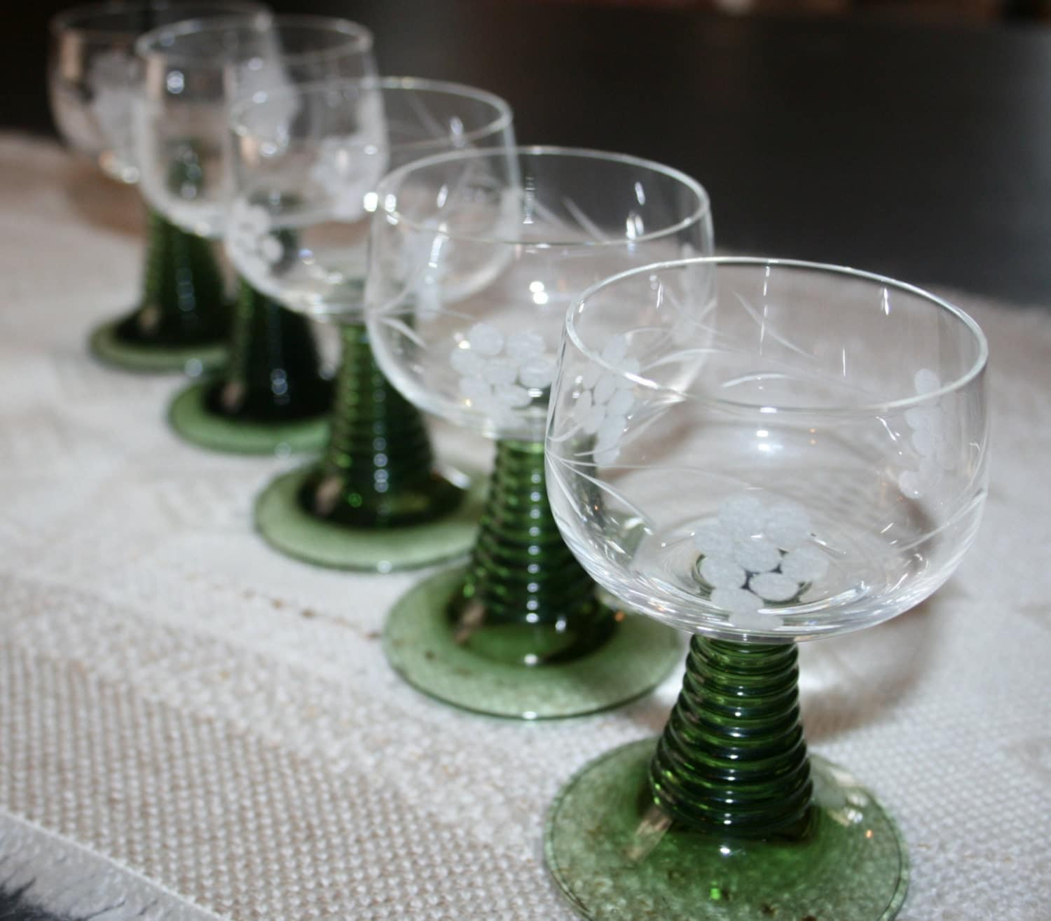 5 Five Vintage German Roemer Wine Glasses Green Etched Grapes