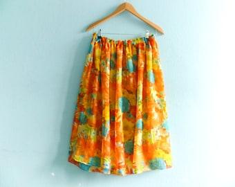Vintage floral skirt bright colors / yellow orange blue multicolor / spring summer / high waist / midi length / medium
