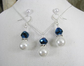 Great Bridesmaids gifts  Rhinestones and White Swarovski Pearls With Indigo Blue Swarovski Crystals on Silver Plated Chain Necklace