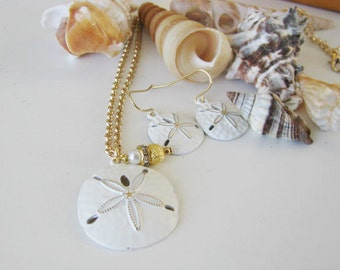 Great Bridesmaids gifts Sand Dollar Chain Necklace and earring Set Beach Wedding Party Jewelry