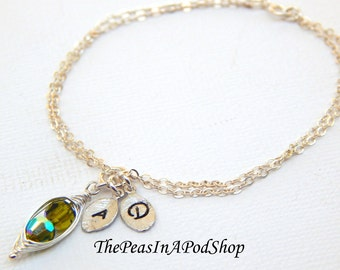 Personalized Two Crystal Peas In A Pod  Friendship Bracelet With Hand Stamped Leaves