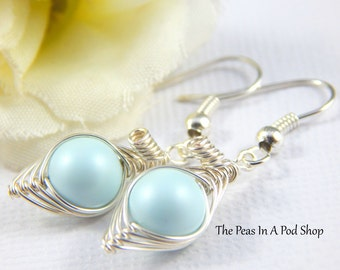 Peas In A Pod Earrings, one pea in a pod Silver Earrings, Pastel Blue Pea Pod,Pastel Blue earrings, new mother gift, baby shower gift