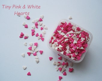 Sprinkles Hearts Pink and White  Jimmies Quins Sprinkles .Shapes. Cupcakes or Brownies . Cakes . Sugar  Sprinkles(4 ounces) 1/4 pound