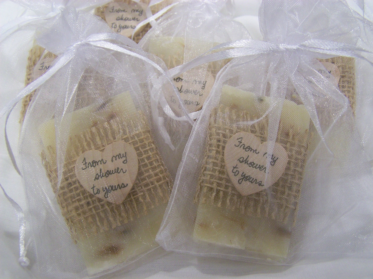 Wedding favors 50 bridal shower favors soaps ivory lavender for Shower favors wedding