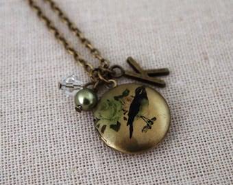 Bird Locket, Bronze Locket, Printed Locket, Bird Necklace, Bird Print, Nature Locket, Personalised Locket Gift, Nature Gift,