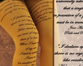 Tights - JANE AUSTEN Quotes- Pride and Prejudice -Printed Tights -Literature - Book printed tights