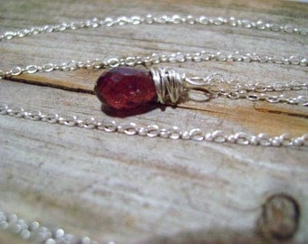 Blood Red Spinel Briolette Wire Wrapped Sterling Silver Necklace