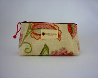 Triangular Zipper Pouch Red Floral in Light Yellow