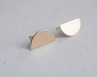Solid 14K Recycled Gold Semicircle Earrings