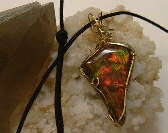 Bright Green and Red Ammolite from Utah Deposit Gold Filled Wire Wrapped Pendant 348
