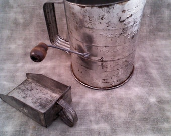 Vintage Bromwell's 3-Cup Flour Sifter with Tin Scoop