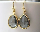Gray Gold Teardrop Earrings / Glass Dangle Drop / Grey / Bridesmaids / Wedding / 14K Gold Filled Wire / Charcoal / Ohio State