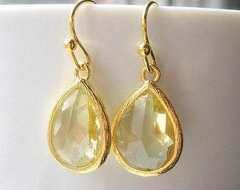 Pale Yellow Teardrop Earrings / Bridesmaids / Gold Glass Dangle Drop Earrings / Wedding / 14K Gold Filled Wire / Light Yellow / Gift