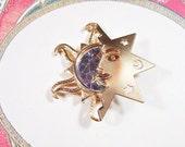 Vintage Star and Sun Gold Star Brooch - BR-465 - Sun Brooch - Moon and Sun Brooch
