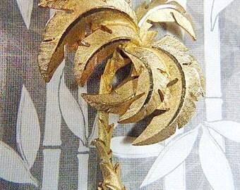 "Vintage ""Key West"" Gold Palm Tree Brooch - BR-575 - Beach Goer"