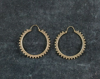 Brass Dotted Hoops