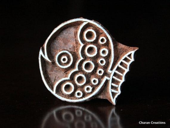 Pottery Stamps, Indian Wood Stamp, Textile Stamp, Wood Blocks, Tjaps, Printing Stamp- Cute Fish