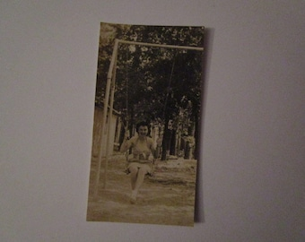 Vtg Tiny B&W photo of woman on swing. Looks like Dorothy from Wizard of Oz on Summer Break