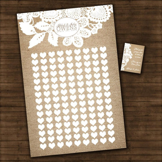 "Burlap and Lace - Wedding Guest Book Signature Art Print - Signature Hearts - Guest Book Art Print -24"" x 36"" - Up to 250 guests"